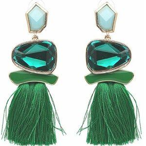 Vintage Green Drop Dangle Earrings Boho Statement